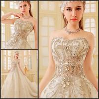 new princess wedding dress 2014 Korean Bra straps trailing wedding bride vestido de novia vestido de noiva a053