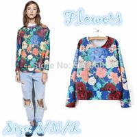 New 2014 women elegant huge flowers pattern print loose pullovers blouses lady girls stylish long sleeve o neck sweatshirts