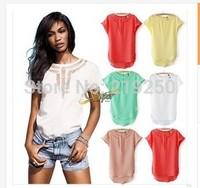 AliExpress Hot new fashion hollow bat chiffon shirt free shipping