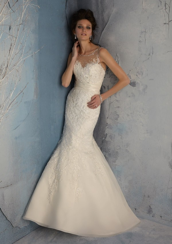 Low Back Wedding Dress With Veil : Aliexpress buy illusion top low back mermaid