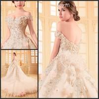 new princess wedding dress 2014 Korean Bra straps trailing wedding bride vestido de novia vestido de noiva a060