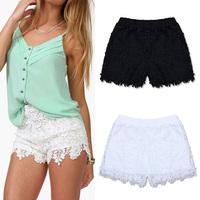 European Fashion Spring Summer Women Shorts Elastic High Waist Lace Shorts Casual Short Pants W3373