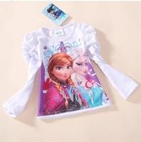 Retail 2014 Frozen Elsa &Anna Long Sleeve T Shirt Girls Fashion Tees  Children Tops
