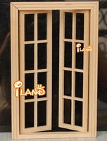 iland 1:12 Dollhouse Miniature Wood French small lattice Exterior Door OA011M
