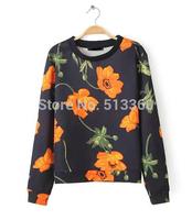 New 2014 autumn lady stylish floral print black sports pullovers blouses women girls elegant long sleeve casual slim sweatshirts