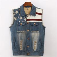 Women Coat  Demin Embroidery Hole Vest Colete Feminino Waistcoat Casual All-Match vintage Loose Vest Jeans Vests Plus Size XXL