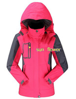 Free slhipping 2014 new style womens outdoor climbing windproof waterproof jacket 4 color size:L-4XL