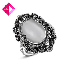 D&Z exquisite platinum plated  Crystal Black Opal Ring Chirstmas gift,high quality,ring series