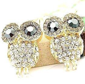 2014 Korean Fashion Romantic Elegant Charm Black Eye Full Rhinestone Owl Earrings Delicate Gorgeous Jewelry Accessories Hot PT31(China (Mainland))