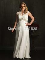 2014 Romantic new arrival lace and chiffon combine Halter Appliques A-line back Zipper white/ivory longPlus Size Wedding Dresses