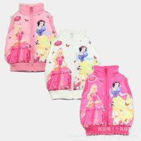 2014 New Winter Frozen Coat Turn-down Collar Sleeveless Cartoon Style Baby Girls Vest Free Shipping Dropshipping K4167