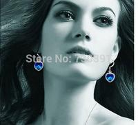 Free shippingNew Arrival Elegant Silver Sapphire Blue TITANIC Heart Of Ocean Rose Earrings