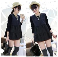 Free Shipping Autumn fashion high waist hem style jacket Korean round neck long-sleeved big yards coat 1391