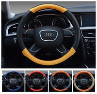 New 38cm PU Leather Steering Cover Fiber Steering Wheel Cover 5 Choices Colorful Steering Wheel Cover