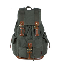 3 colors 3 exterior pockets canvas school bags for teenagers men's backpacks black fashion army green brand FS223K