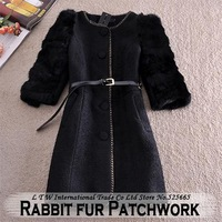 Rabbit fur Sleeve Patchwork Wool Woolen Long Coats Jacket Black Women Autumn and Winter 2014 Single-breasted Plus Size XXL