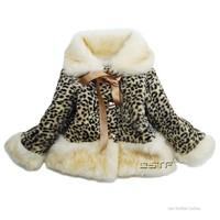 New Fashion Leopard Winter Coat Girls W arm Faux Fur Coat Long Sleeve Fur Collar/Cuff/ Hem Winter Jacket Down Outerwear Parkas