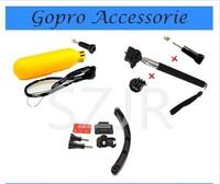 Gopro Accessories Handheld Monopod monopole Holder/adapter+Bobber Floating Handheld Stick+Helmet Extension Arm For Gopro Hero 3