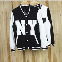 2014 new Harajuku style Korean women behind the letters NY No. 23 baseball uniform jacket female pentagram sweatershirts hoodie