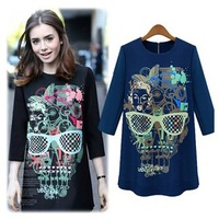 2014 New arrival hot brand Women's Chiffon clothes fashion jackets sweet  dress printing slim long sleeved dress girls clothes