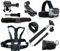 Gopro Accessories Gopro Chest Belt+WiFi Remote Wrist Belt+Head Strap+Helmet Strap+Bag+Handheld Monopod Mount for Gopro Hero3 3+
