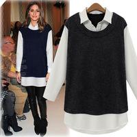 Autumn NEW Fashion, Women's Slim False two pcs dress, Casual Plush Bottoming shirt, Lapel Tops/Long Tee