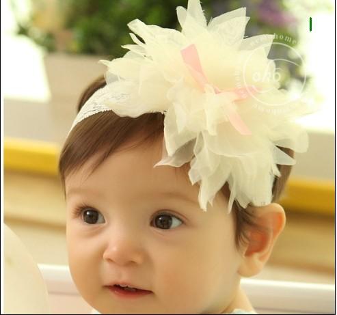 new flower chiffon baby hairbands girls lace headband