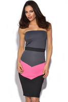 Fashion Wrapped Chest Casual Dress Strapless Bodycon Pencil Dress  Color block Patchwork New Peplum Women Career Dresses,Y037