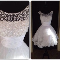 Elegant Pearl Top White Lace Short Prom Dresses 2015 New Girl Cocktail Party Dress
