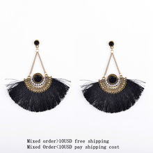 Fashion Women Ethnic Vintage Fan Thread Earrings(China (Mainland))