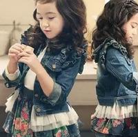 Size110~150 Retail 1pcs Girls coat kids jackets children outerwear spring autumn Long sleeve child lace denim jeans