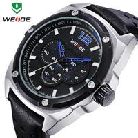 Chrismas Gift  WEIDE Vogue Watch 3 Small Watch Dials Leather  Watch  Strap Rhinestone Watches For Men