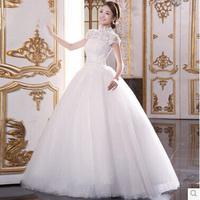 Wedding Dress 2014 New Arrival Korean Empire Waist Wedding Dresses for Pregnant Lace Up Floor length Wedding Dress