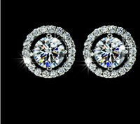 Discount Jewellery 1.25cart zircon 24k White Gold  Plated stunds Earrings for gift