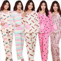 New fall winter flannel two- piece pajamas cotton leisurewear woman girl sleepwear nightgown sets