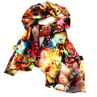 "Guka Women's  Flower Painting Silk Long Scarf 66""x27"""