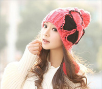 HOT SELL  Korean winter cute winter wool hat  Ms. ear knit hat and winter fashion millinery