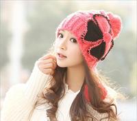 HOT SELL  Korean winter cute winter wool hat  Ms. ear knit hat and winter fashion millinery