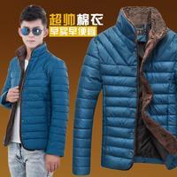2014 winter new Korean Slim padded male lamb fur collar down jacket cotton coat fashion -season
