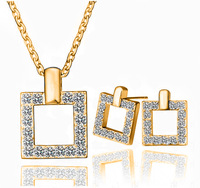 T0209   Austrian crystal jewelry sets box full of CZ diamond earrings square box necklace piece suit fitted for woman jewelry