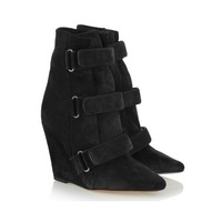 Free shipping EMS Isabel Marant Sebay Suede Ankle Boots Black women genuine leather boots sexy women booties