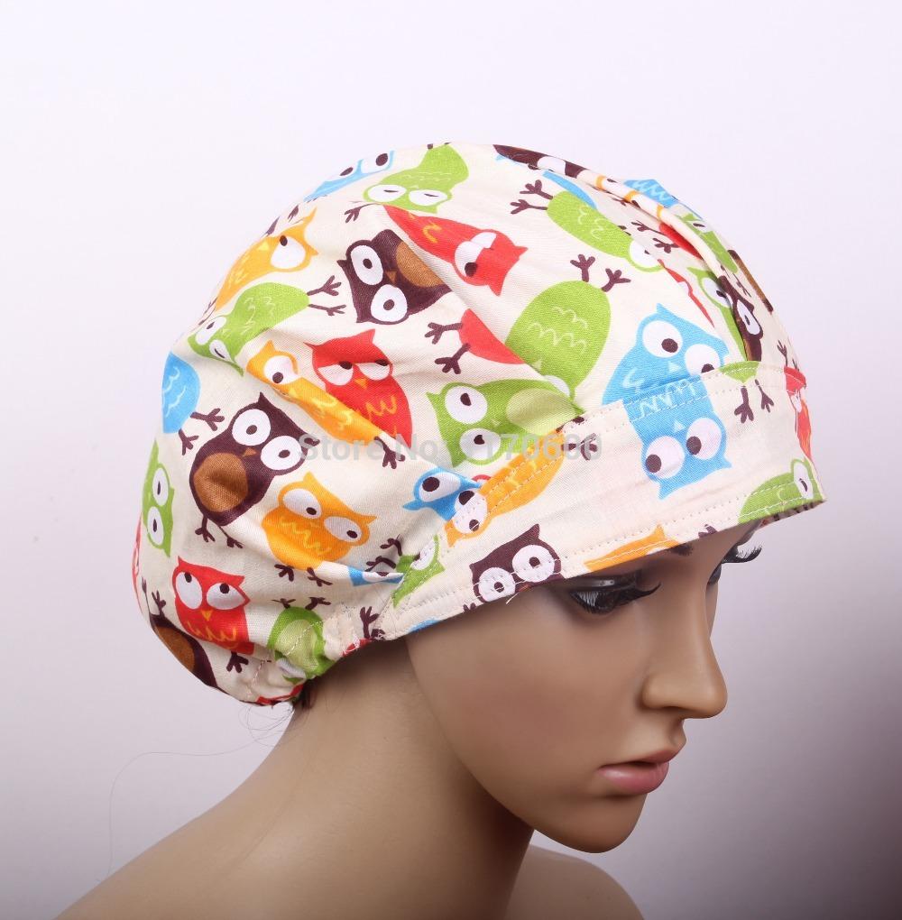 Ladies Surgical Scrub Hat/Cap - Bouffant cap White with Night OWLS(China (Mainland))