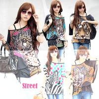 2014 New Rushed Vestido De Festa Party Dresses Summer Korean Version Of The Chain Tiger Trade Ice Silk Flower Bat Sleeve Dress