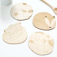 Kawaii Cartoon Animal Wood Tea Coaster Cup Mat/Cup Pad Insulation Coasters-Christmas Gift Novelty Toy  100Pcs/Lot