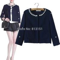 Free Shipping Fashion Brand Casual Women's Manual Beading Decorate Elegant  Coat  Girl's Jacket  Lady Outerwear