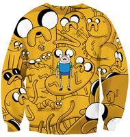 best quality G62 Free Shipping Harajuku 2014 New Women yellow O Neck Casual  Hoodies 3D Cartoon Print Cute Sweatshirt