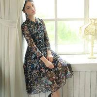 Autumn And Winter New Dress 2014 Women's Clothing Three Quarter Sleeve Vintage Chiffon Dresses W23175