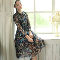 Free Shipping Autumn And Winter New Dress 2014 Women's Clothing Three Quarter Sleeve Vintage Chiffon Dresses W23175