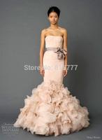 Simple Design Strapless Satin Court Train  Organza Mermaid Ruffles Wedding Dresses with Sash