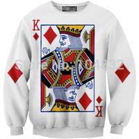 best quality 2014 New Brand Women Casual Sweatshirt 3D Poker Print O Neck Hoodies women pullover hot selling